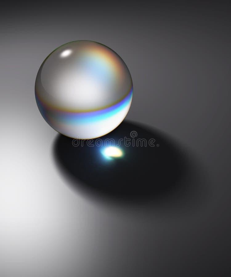 Luz aislada y oscuridad de la bola de cristal ilustración del vector