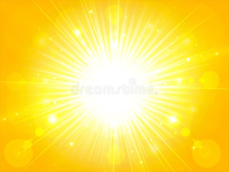 A luz alaranjada amarela do sol do verão estourou o sol de brilho do verão, CCB ilustração royalty free