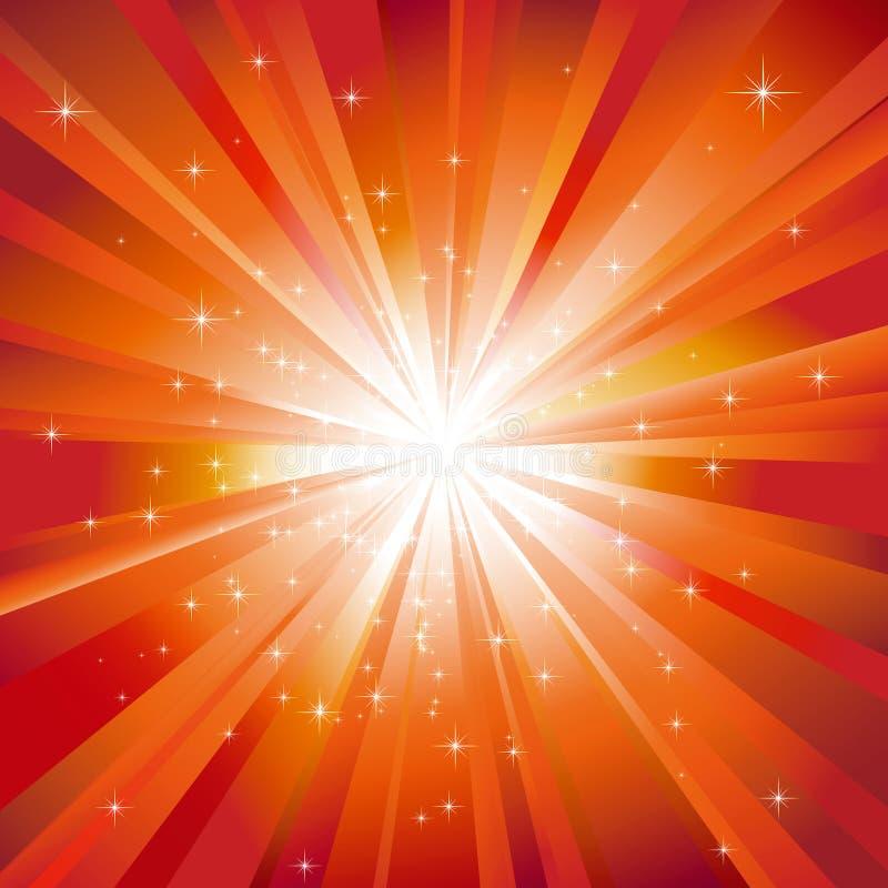 Luz alaranjada estourada com estrelas sparkling ilustração stock