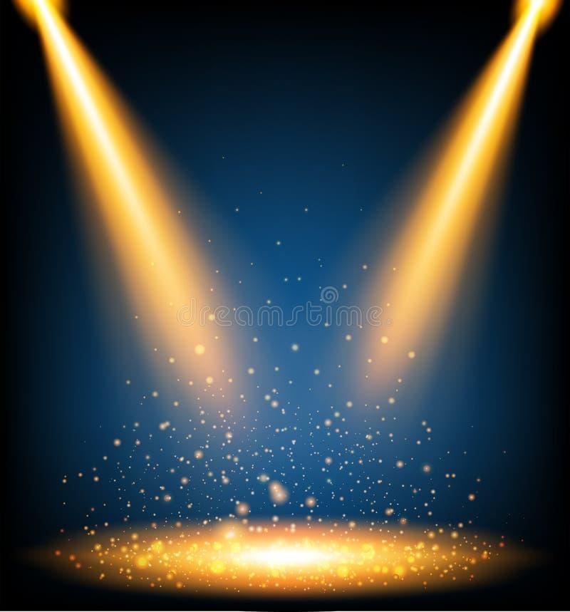 Luz alaranjada que shinning no fundo escuro ilustração stock
