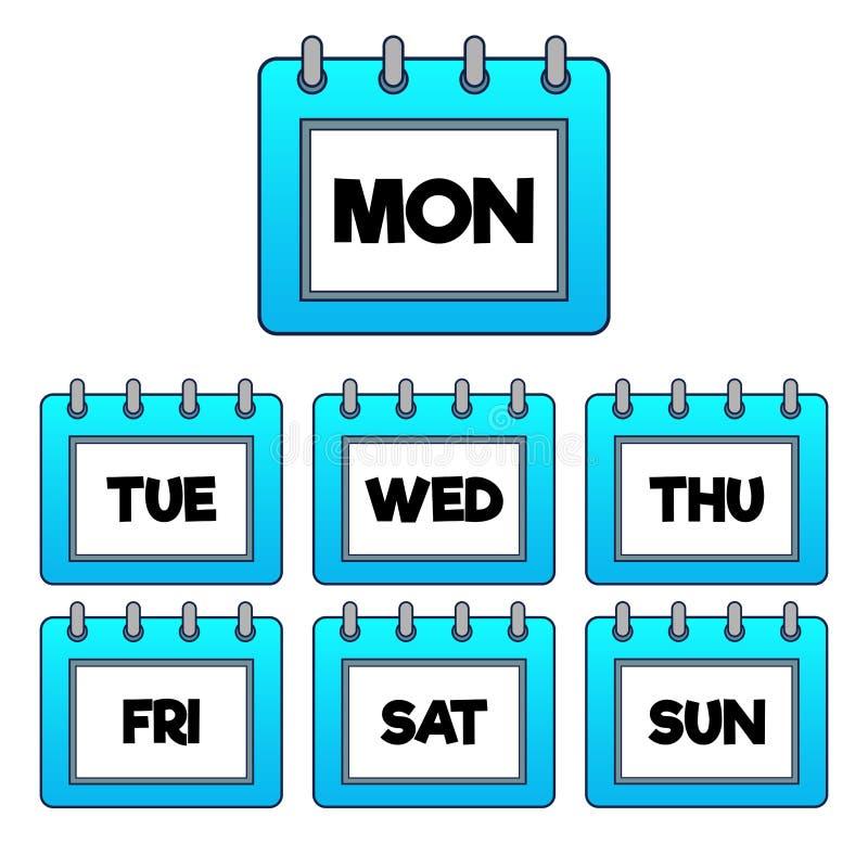 Luz - almofada do inclinação/ícone azuis do calendário para cada dia da semana ilustração stock