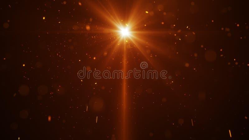 Luz anaranjada y fondo abstracto de las partículas del resplandor libre illustration