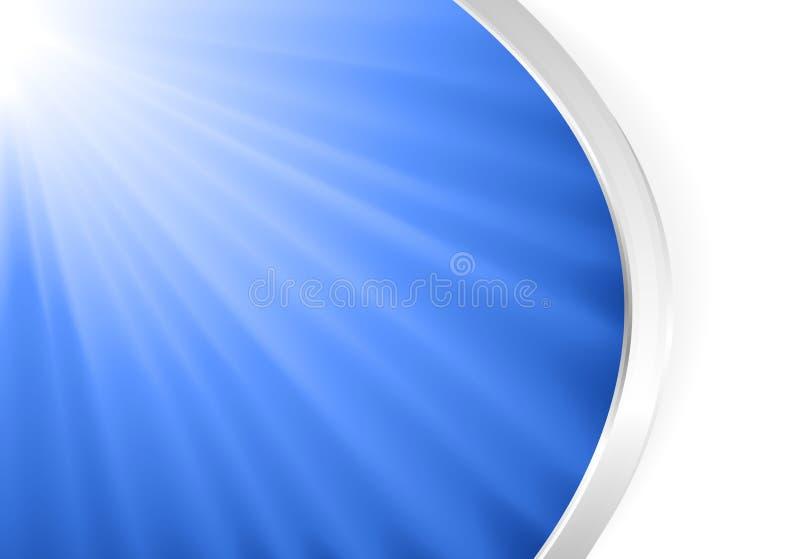 Luz azul abstrata estourada com prata ilustração do vetor