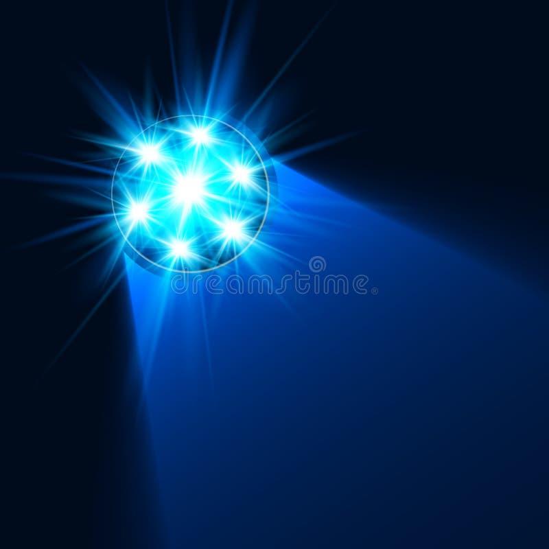 Luz azul brilhante da lanterna elétrica na escuridão ilustração stock