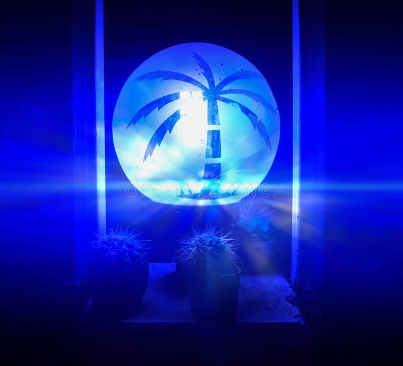 Luz azul de la fantasía, decoración casera ilustración del vector
