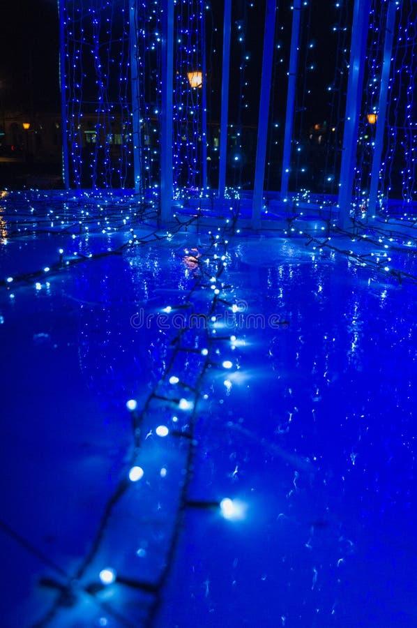 Luz azul de la guirnalda foto de archivo libre de regalías