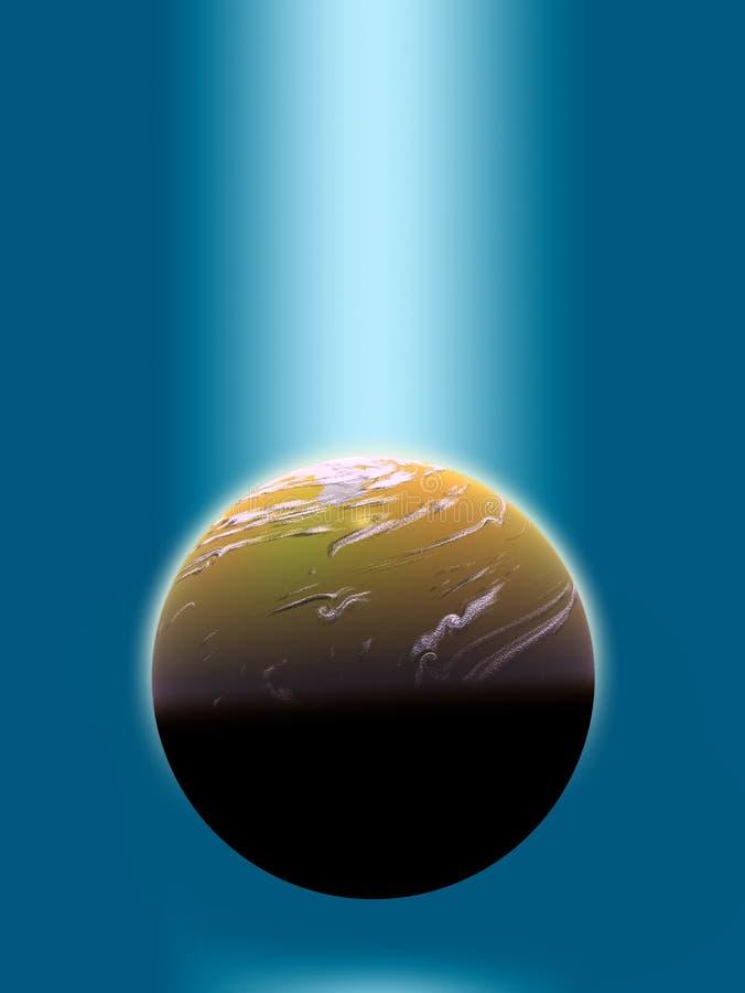 luz azul en el planeta ilustración del vector
