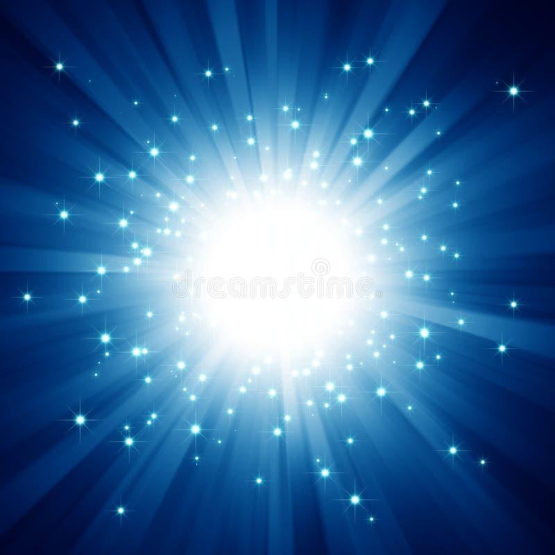 A luz azul estourou com estrelas ilustração do vetor