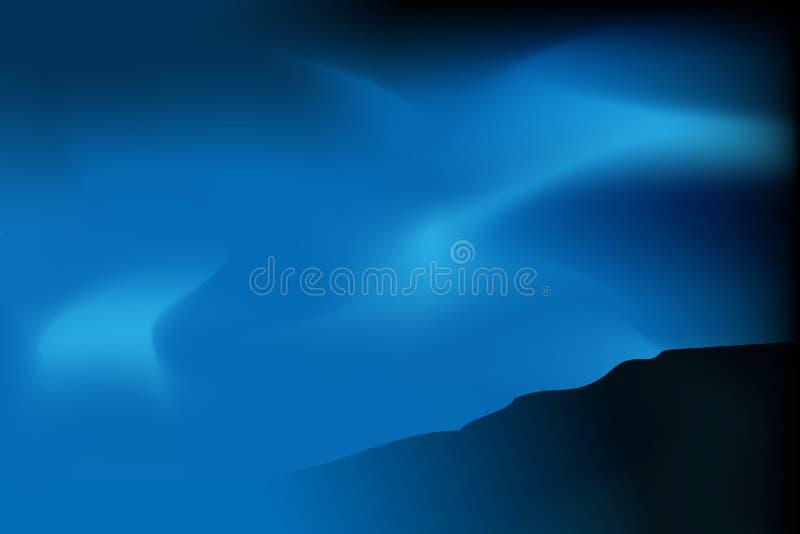 Luz azul macia da Aurora do vetor acima dos montes ilustração stock