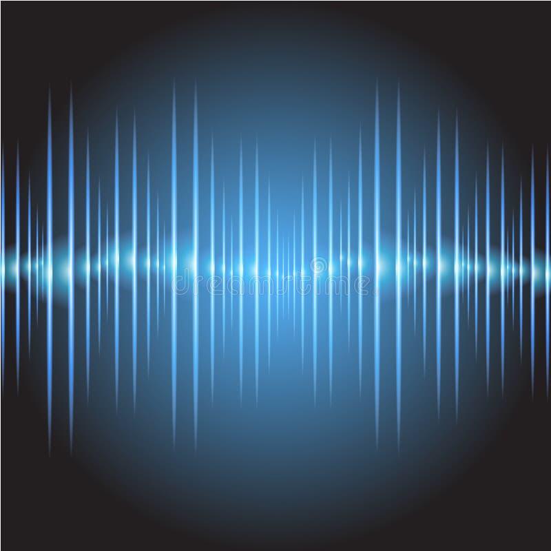 Luz azul marino oscilante del resplandor de las ondas acústicas, fondo abstracto de la tecnología Vector ilustración del vector