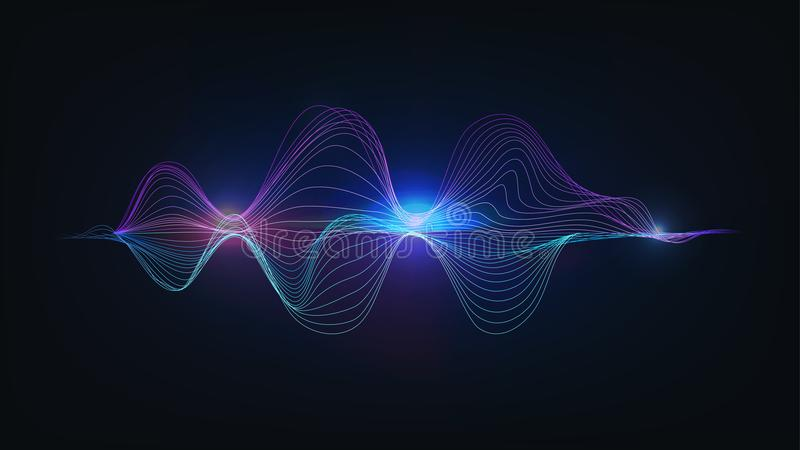 Luz azul que fala o vetor da ilustração da onda sadia ilustração royalty free