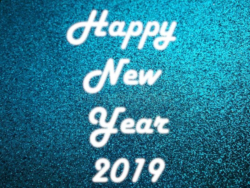 Luz blanca de neón de la Feliz Año Nuevo 2019 imagen de archivo libre de regalías
