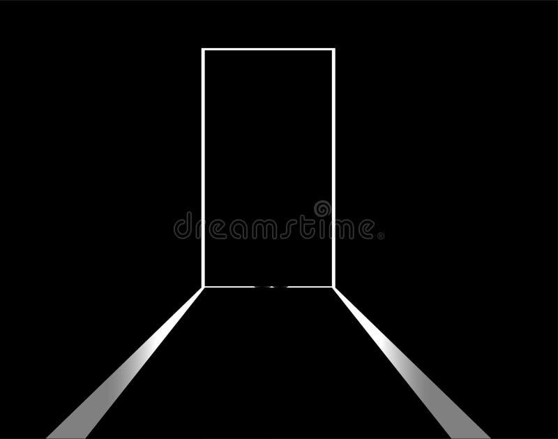 Luz blanca y silueta detrás de la puerta negra ilustración del vector