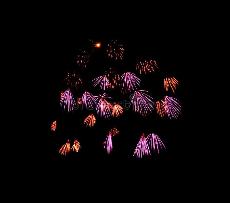 Luz bonita para comemorar fogos de artifício coloridos festivos no céu noturno imagem de stock royalty free