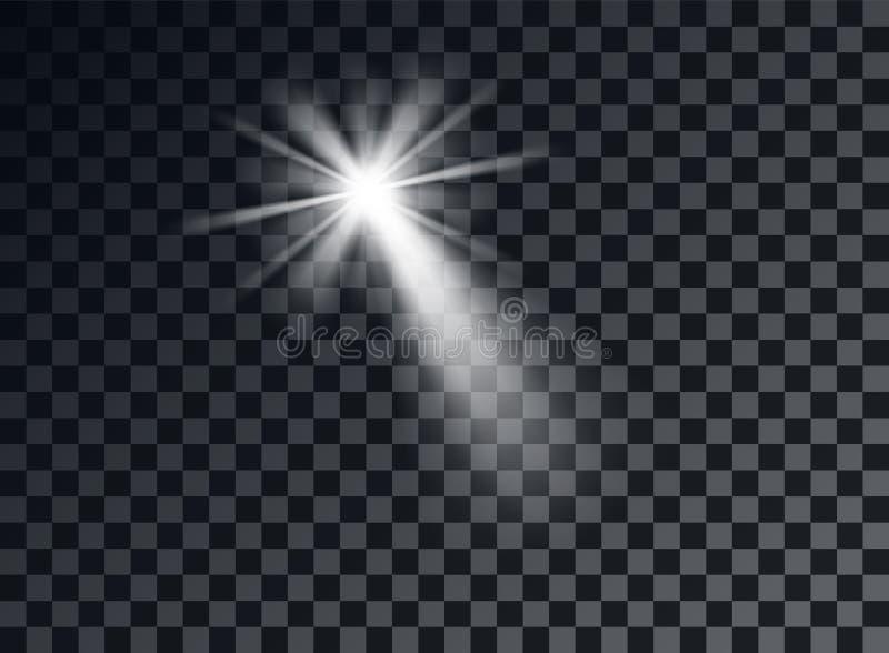 Luz brillante blanca, resplandor El elemento decorativo cubrió el brillo, explosión, estrella Decoración del diseño del vector de stock de ilustración