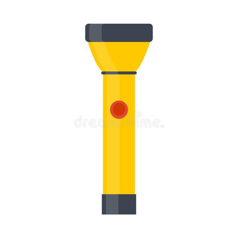 Luz brillante del vector amarillo del ejemplo de la linterna aislada Antorcha eléctrica de la herramienta del equipo del icono de stock de ilustración