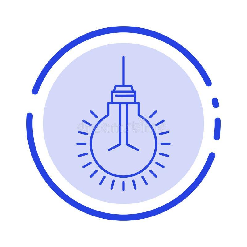 Luz, bulbo, ideia, pontas, linha pontilhada azul linha ícone da sugestão ilustração do vetor