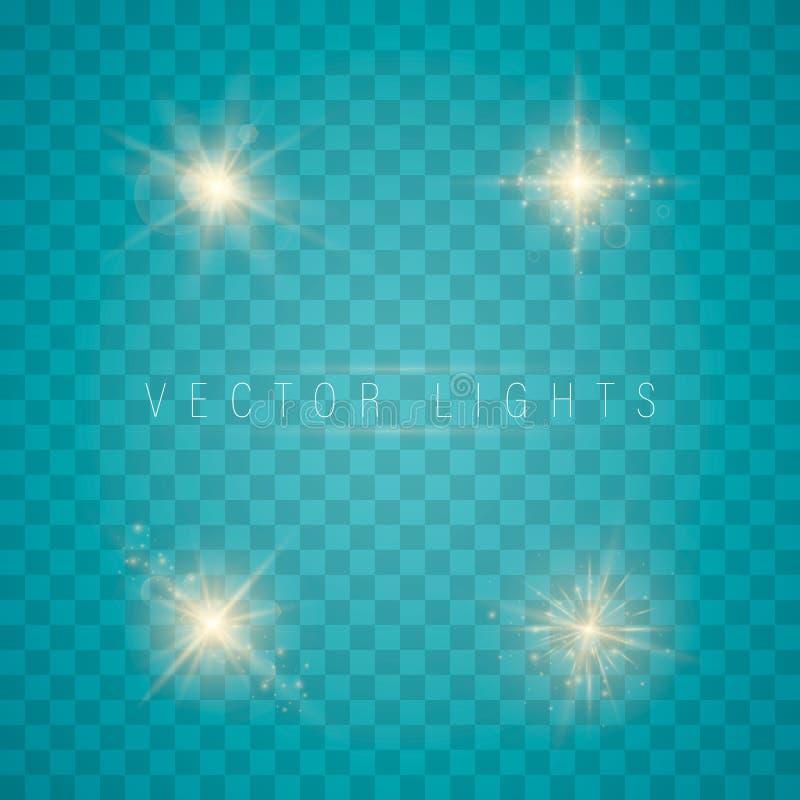 Luz, chispa y estrellas ilustración del vector