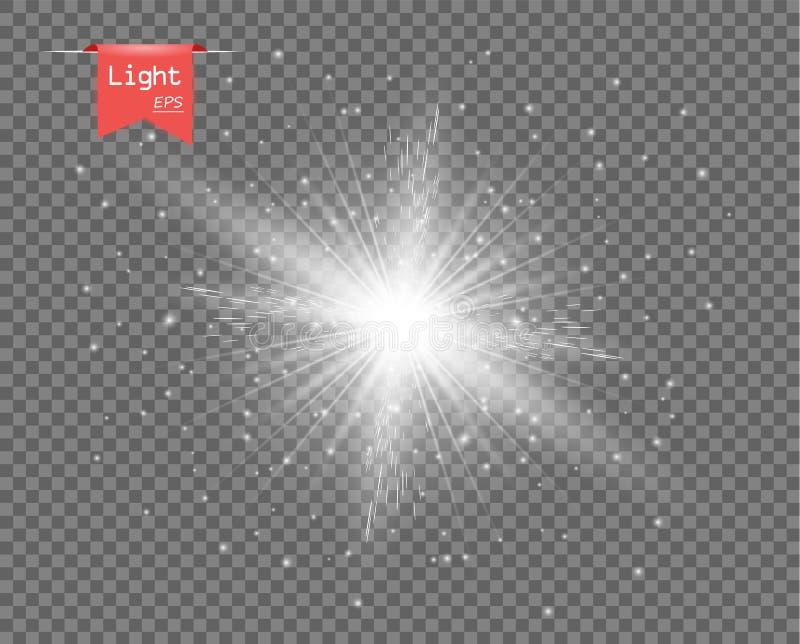 A luz clara branca do sol Explosão brilhante, flash efervescente com raios Brilho de Stardust ilustração stock