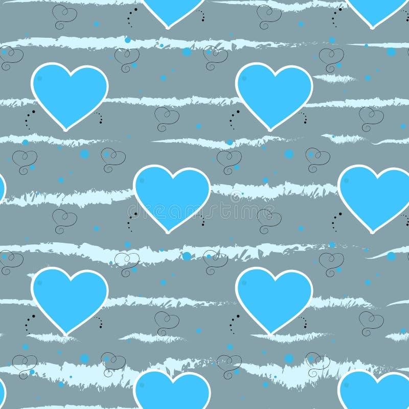 Luz - corações azuis em um fundo cinzento Teste padrão sem emenda do coração Ilustração do vetor ilustração royalty free