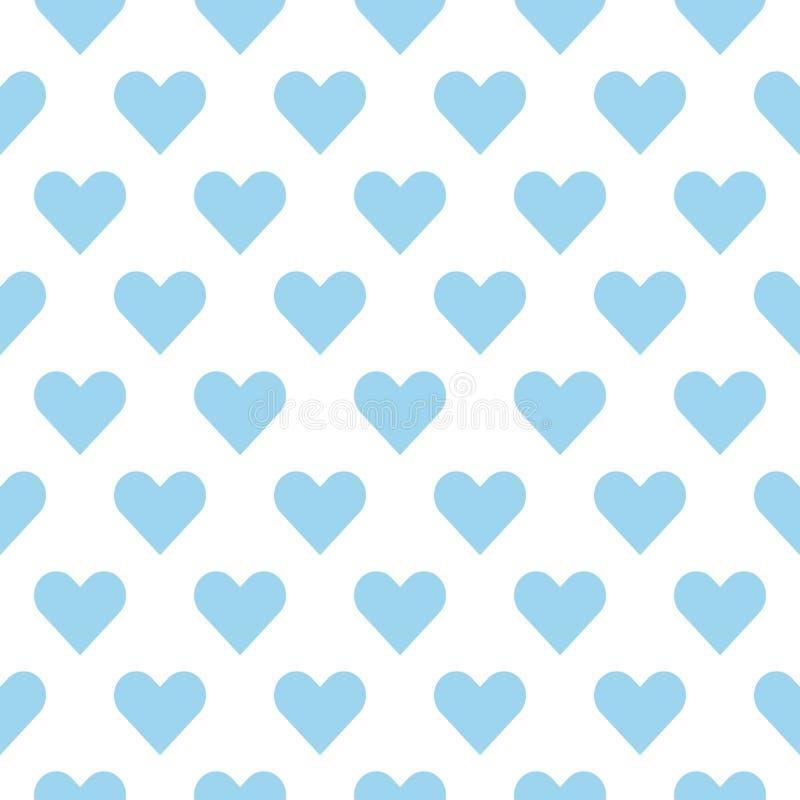 Luz - cora??es azuis em um fundo branco Teste padr?o sem emenda do cora??o ilustração do vetor