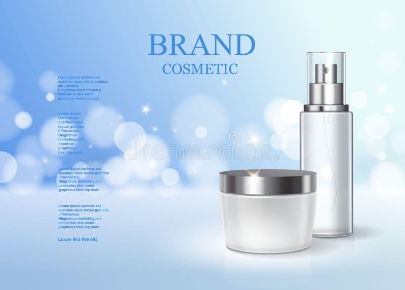 Luz cosmética hidratando do anúncio de produtos - fundo efervescente azul Cartaz do produto dos cuidados com a pele ilustração do vetor
