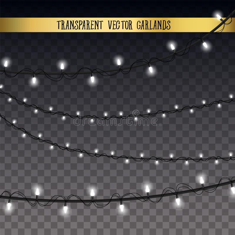 Luz creativa abstracta de la guirnalda de la Navidad aislada en fondo modelo Arte del clipart del ejemplo del vector para Navidad stock de ilustración