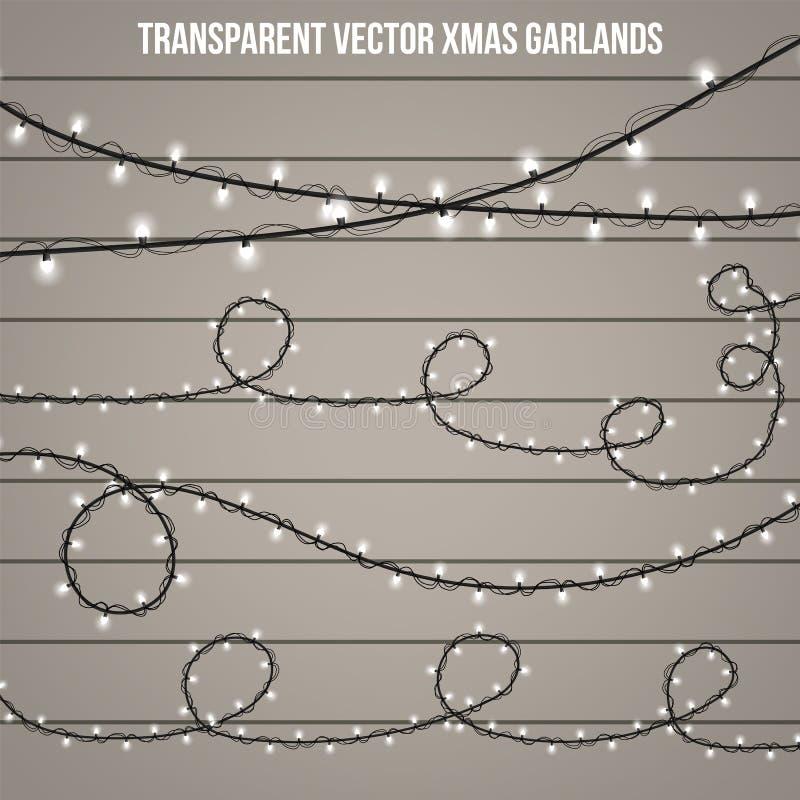 Luz creativa abstracta de la guirnalda de la Navidad aislada en fondo modelo Vector el arte del clipart del ejemplo para la decor foto de archivo libre de regalías