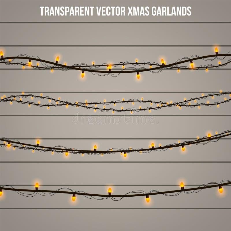 Luz creativa abstracta de la guirnalda de la Navidad aislada en fondo modelo Vector el arte del clipart del ejemplo para la decor fotos de archivo