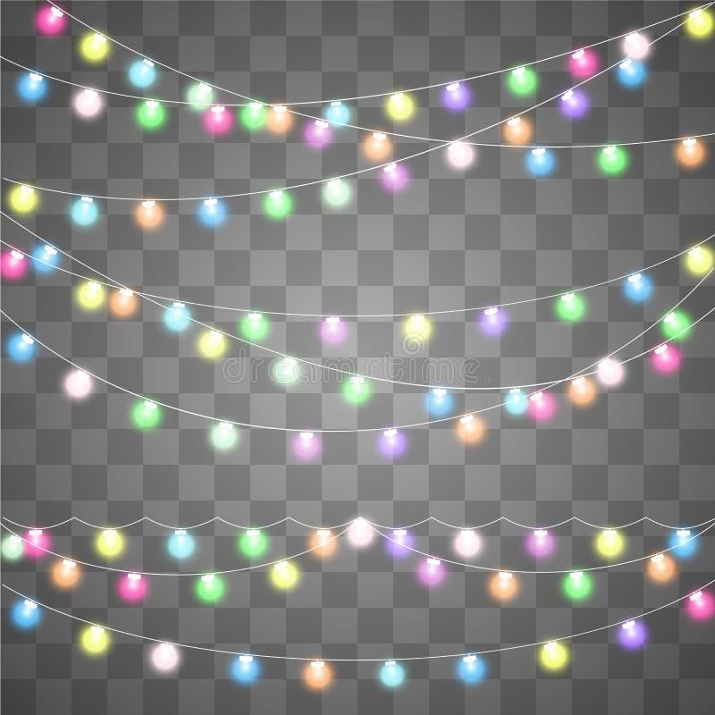 Luz creativa abstracta de la guirnalda de la Navidad ilustración del vector