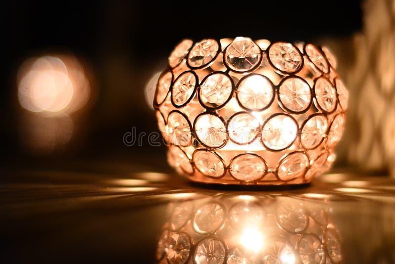 Luz cristalina hermosa de Diwali de la lámpara fotografía de archivo