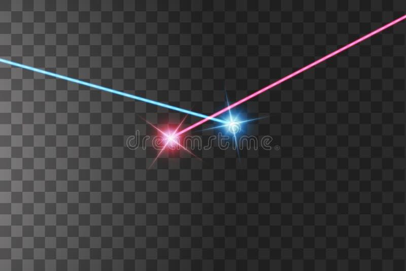A luz da colisão de duas forças com luz vermelha e azul Uma irrupção de duas estrelas ilustração royalty free