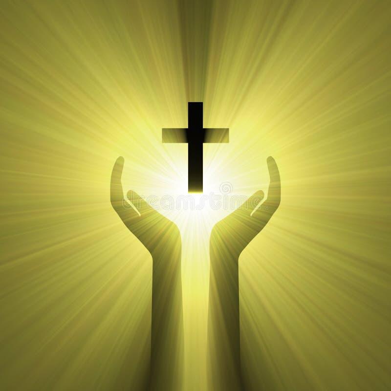 Luz da cruz do deus do abraço da mão ilustração royalty free