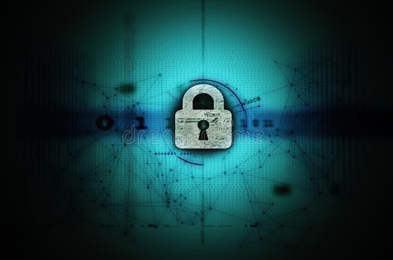 Luz da ilustração de Cybersecurity - azul imagem de stock royalty free