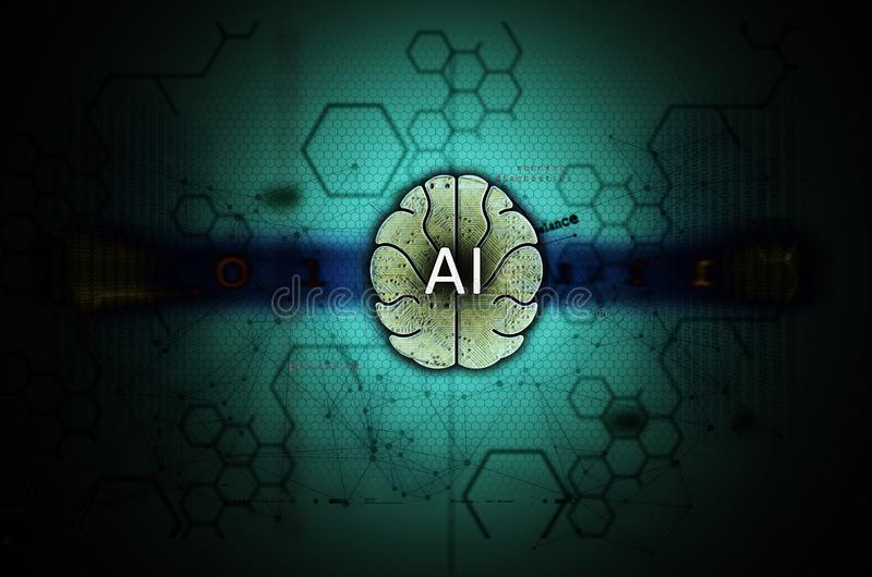 Luz da ilustração da inteligência artificial e da aprendizagem de máquina - azul imagem de stock royalty free