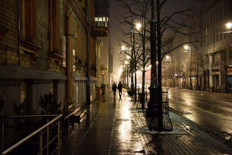 Luz da noite da cidade fotografia de stock