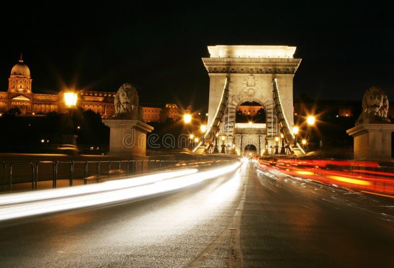 Luz da noite em budapest. imagem de stock