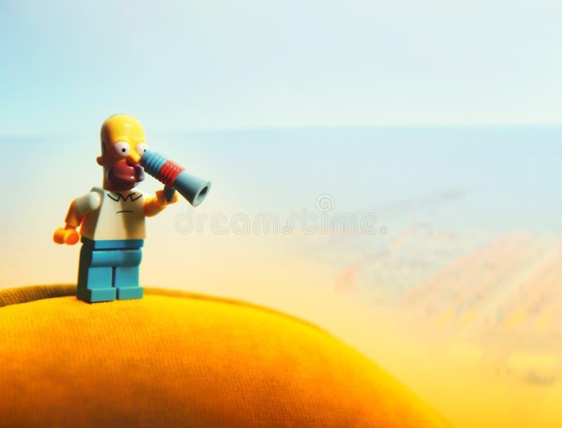 Luz da qualidade do estúdio do bloco de cidade dos povos de Lego imagem de stock royalty free