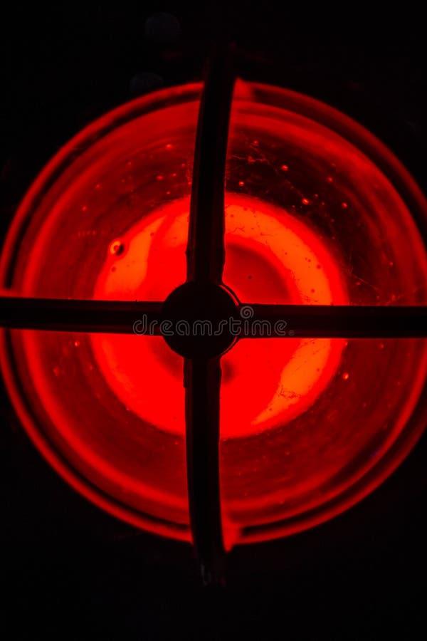 luz de advertência vermelha no aquário místico em Connecticut místico foto de stock royalty free