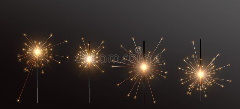 Luz de Bengala realista del día de fiesta, con la quema brillante de la chispa Vela del fuego artificial del diwali de la Navidad ilustración del vector