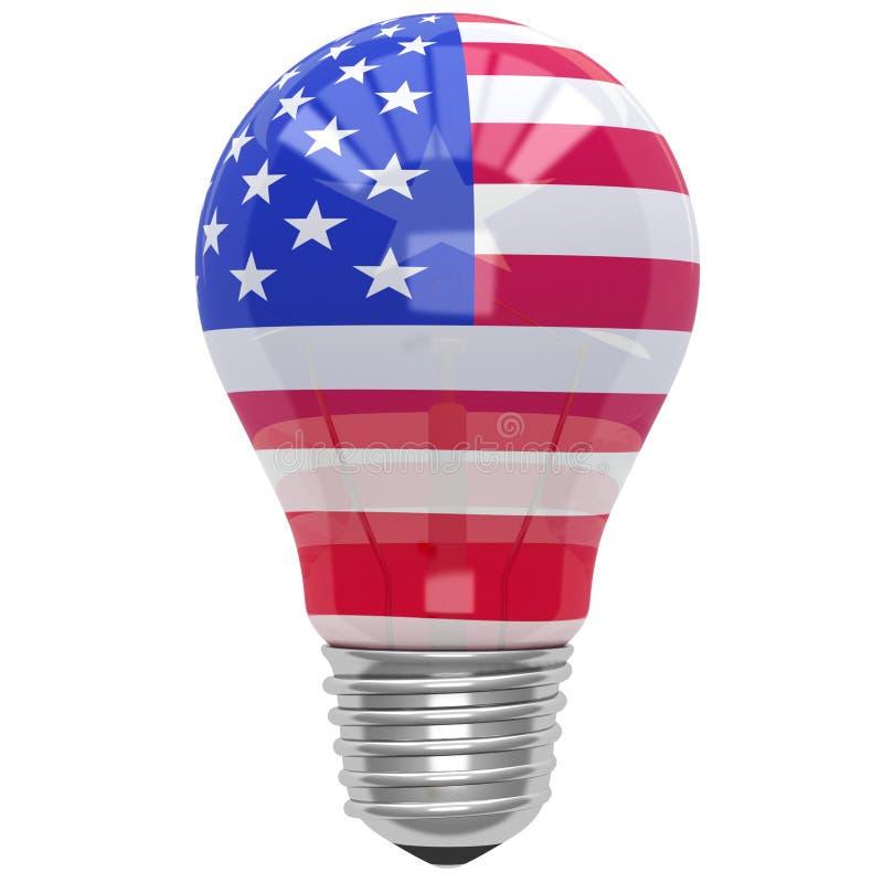 Luz de bulbo com bandeira americana ilustração do vetor
