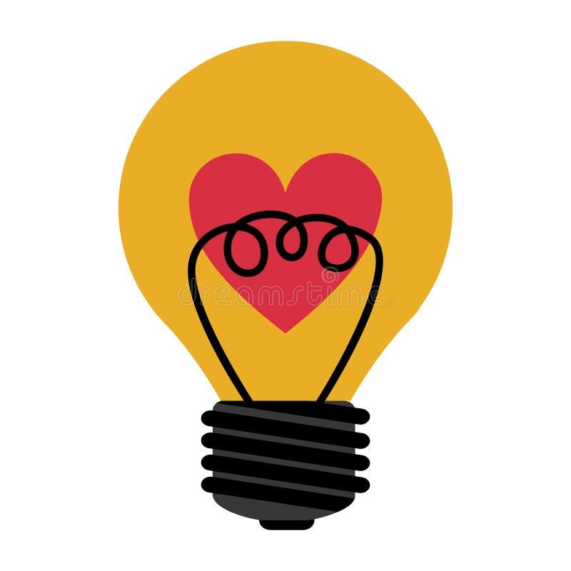 Luz de bulbo do amor ilustração royalty free