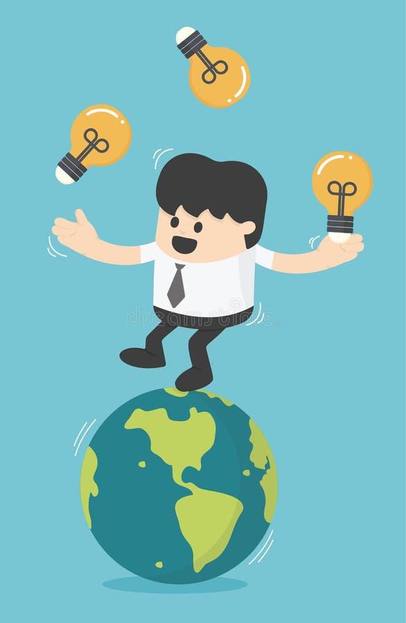 Luz de bulbos del gimnasta del juego del hombre de negocios del concepto en la tierra libre illustration