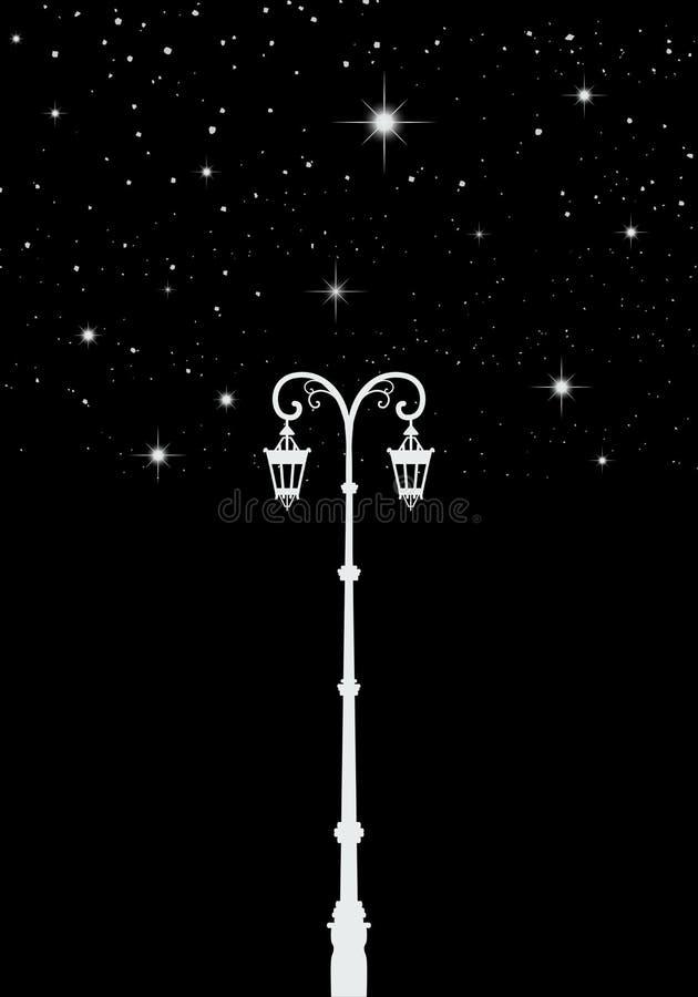 Luz de calle Farol debajo de las estrellas Árbol de la estrella ilustración del vector