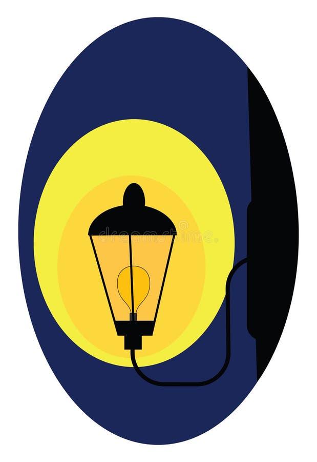 Luz de calle instalada en vectores aislados de fondo azul o ilustración de color libre illustration