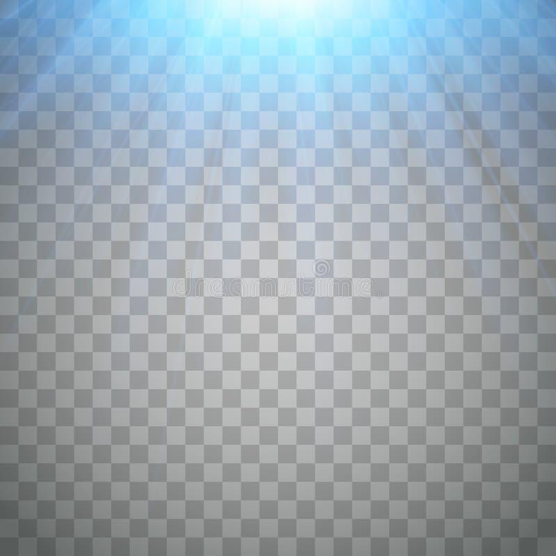 Luz de destello azul Proyector frío con los rayos Vector stock de ilustración
