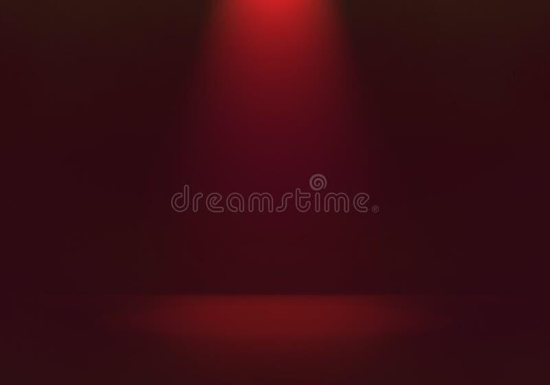 Luz de foco roja con ilustración de fondo negro en la sombra, luz suave y brillante en el escenario o en la habitación con espac ilustración del vector