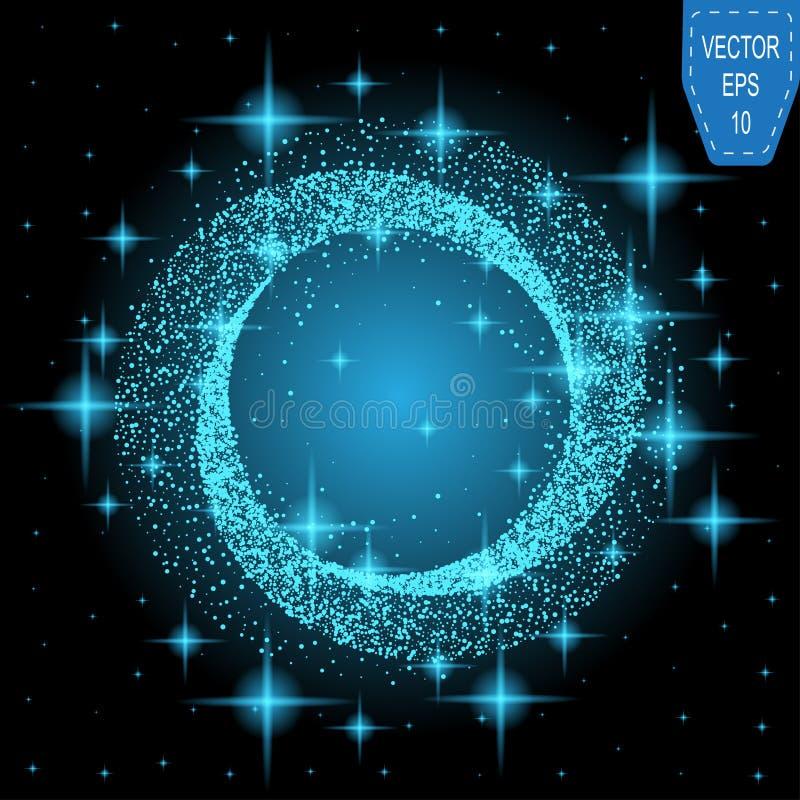 Luz de incandescência da mágica de néon azul Onda do efeito do redemoinho do fulgor ilustração royalty free