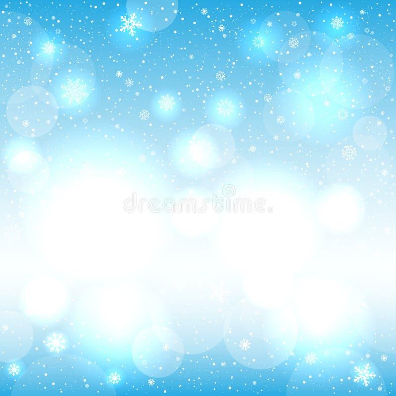 Luz de incandescência da neve - bokeh azul ilustração do vetor