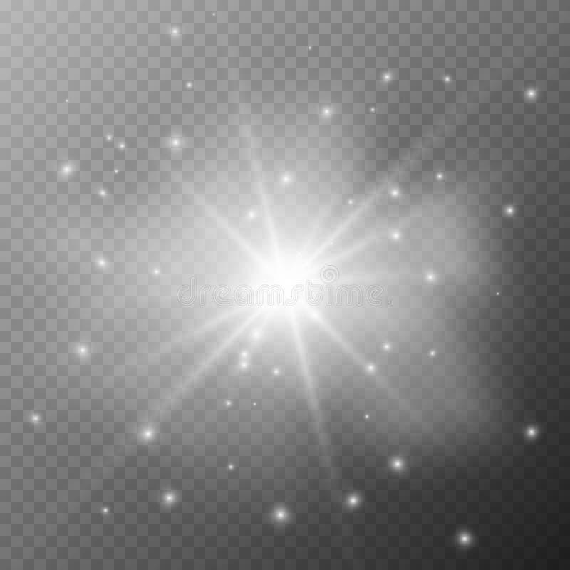 A luz de incandescência explode em um fundo transparente ilustração do vetor